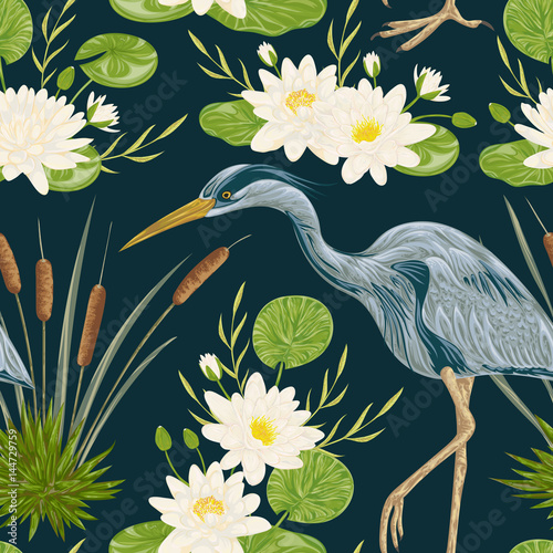 Cuadros en Lienzo Seamless pattern with heron bird, water lily and bulrush
