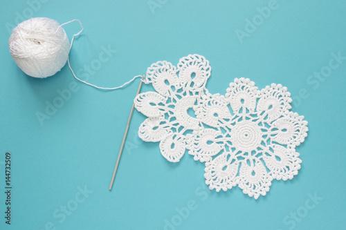 Fotografia, Obraz  White vintage crochet doily