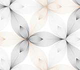 wektor wzór kwiatowy, powtarzając płatek liniowy kwiatu, stylowy monochromatyczny - 144737159