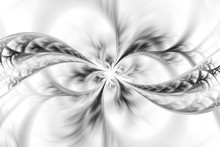 Abstract Floral Design In Black And White Colors. Fantasy Fractal Art. 3D Rendering.
