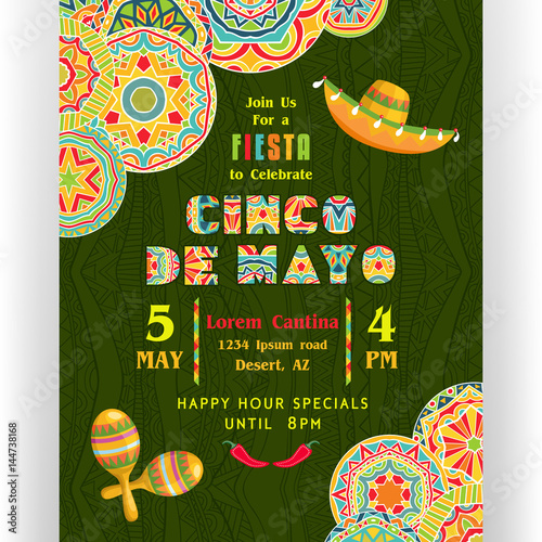 Fotografie, Obraz  Cinco De Mayo poster template with text customized for invitation for fiesta party, ornate Mexican maracas and sombrero at dark ornament