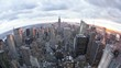 wide angle view of the manhattan skyline from the empire state building obs