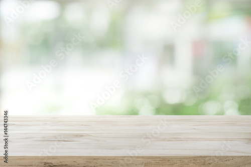 Wood Table Top On White Abstract Window Glass Background.For Montage  Product Display Or Key