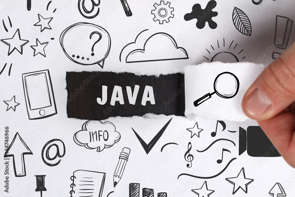 Fototapety, obrazy: Business, Technology, Internet and network concept. Young businessman shows the word: Java