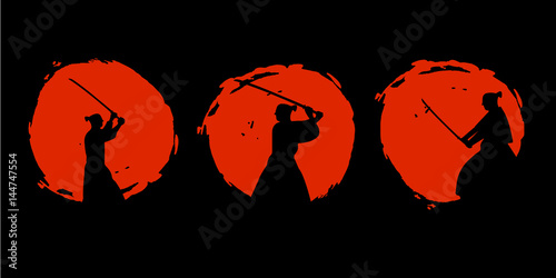 Photo  Japanese Samurai Warriors Silhouette. Vector illustration.