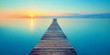 canvas print picture - Holz Steg Brücke mit See und Sonnenaufgang