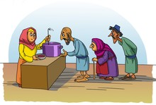 Christian Woman Feeding The Poor
