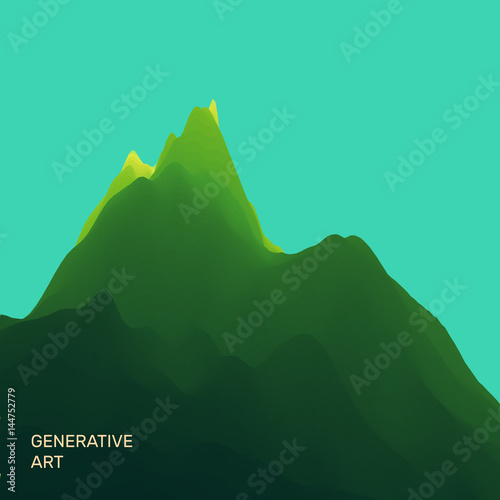 In de dag Groene koraal Mountain Landscape. Mountainous Terrain. Vector Illustration. Abstract Background.