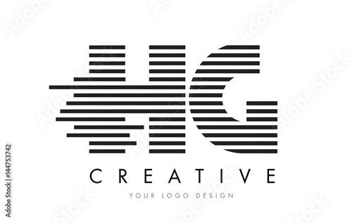 HG H G Zebra Letter Logo Design with Black and White Stripes ...