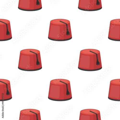 Fez icon in cartoon style isolated on white background