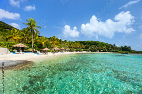 Staande foto Eiland Beautiful tropical beach at Caribbean