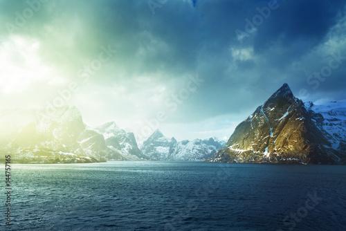Poster Scandinavie spring sunset, Lofoten islands, Norway