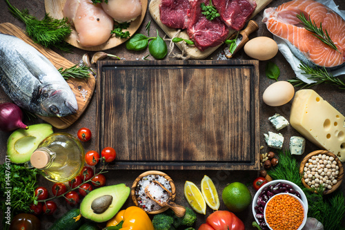 Spoed Fotobehang Eten Balanced diet. Organic food for healthy nutrition.