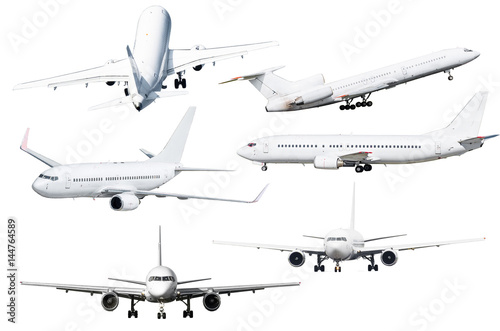 Papel de parede  Set of six aircraft isolated from the background