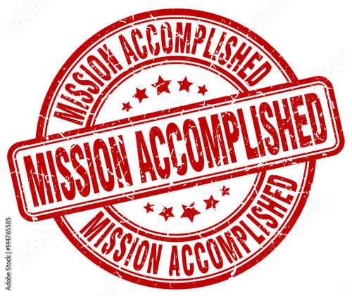 Fotografía  mission accomplished red grunge round vintage rubber stamp