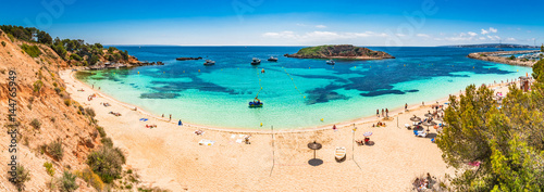 Akustikstoff - Beautiful panorama view of the beach Cala Portals Nous Platja de l'Oratori on Majorca island Mediterranean Sea