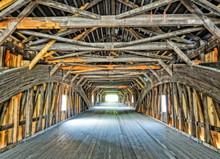 Wooden Covered Bridge In Vermont.