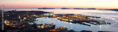 panoramic view of Vigo city in Galicia Spain at sunset
