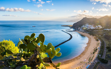 Amazing view of beach las Teresitas with yellow sand. Location: Santa Cruz de Tenerife, Tenerife, Canary Islands. Artistic picture. Beauty world.