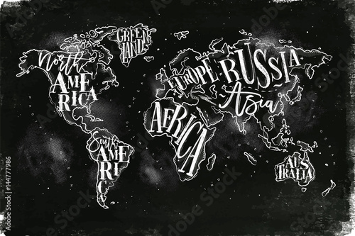 Fotografía Worldmap vintage chalk