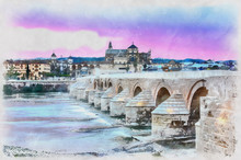 Colorful Painting Of Cathedral Mezquita And Roman Bridge At Sunset