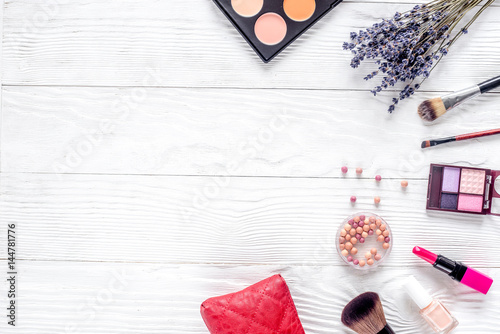 Fototapeta cosmetics composition with palette and lavender top view mock up obraz