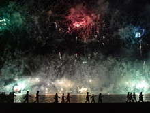 Skyfire 2017 In Canberra, Australia. Fireworks During Canberra's Annual SkyFire Appear Above Lake Burley Griffin. Australian Federation Guard Moving Away At Gallipoli Reach.