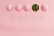 outstanding balloon watermelon concept on pastel pink background for copyspace. minimal concept.
