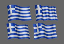 Greek Flags. Vector Illustration.