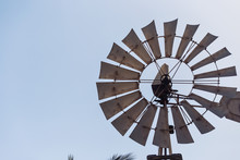 Close-up Of A Windmil And Blue Sky