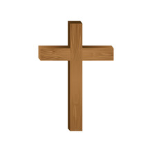 White Background With Wooden Cross Vector Illustration