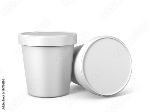 Fotografie, Obraz  White Ice Cream Tub On Isolated White Background, Realistic Rendering Of Ice Cre