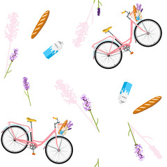 Tapeta Pattern with realistic bicycle, seamless pattern with romantic bike, flowers. Bike for breakfast with lavender, fresh bread and milk