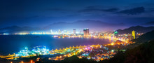 Panoramic View At Coast City NhaTrang In Night Time, Vietnam