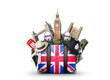 England, vintage suitcase with British flag