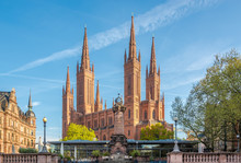 View At The Markt Church From Market Place In Wiesbaden - Germany