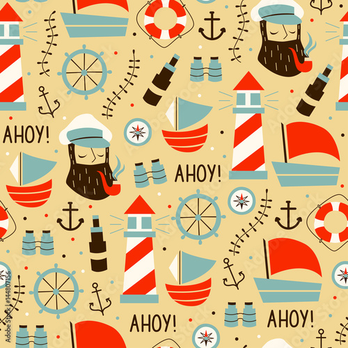 Cotton fabric Seamless Pattern with Sailors, Wheel, Ship, and Different Elements.