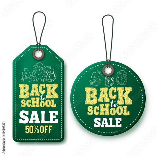 back to school sale vector price tags and labels template in green