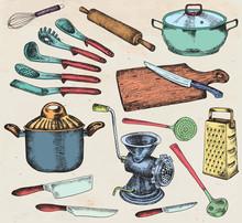 Kitchenware Set. Beautiful Tableware And Kitchen Utensils Illustration