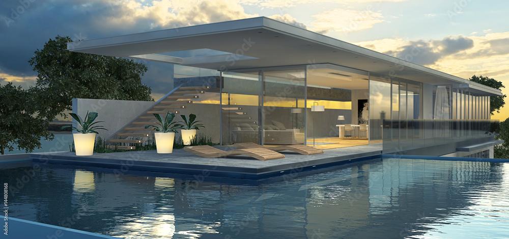 Fototapeta Moderne Villa mit Schwimmecken