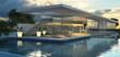 Leinwanddruck Bild - Moderne Villa mit Schwimmecken