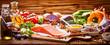 Leinwandbild Motiv Healthy fresh raw food for the heart in a banner