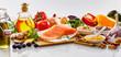 Leinwanddruck Bild - Panorama banner with healthy heart food