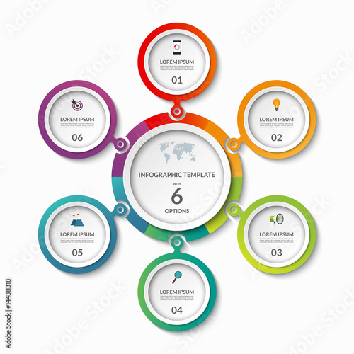 Infographic Banner With 6 Options Circle Template That Can Be Used As Round Chart