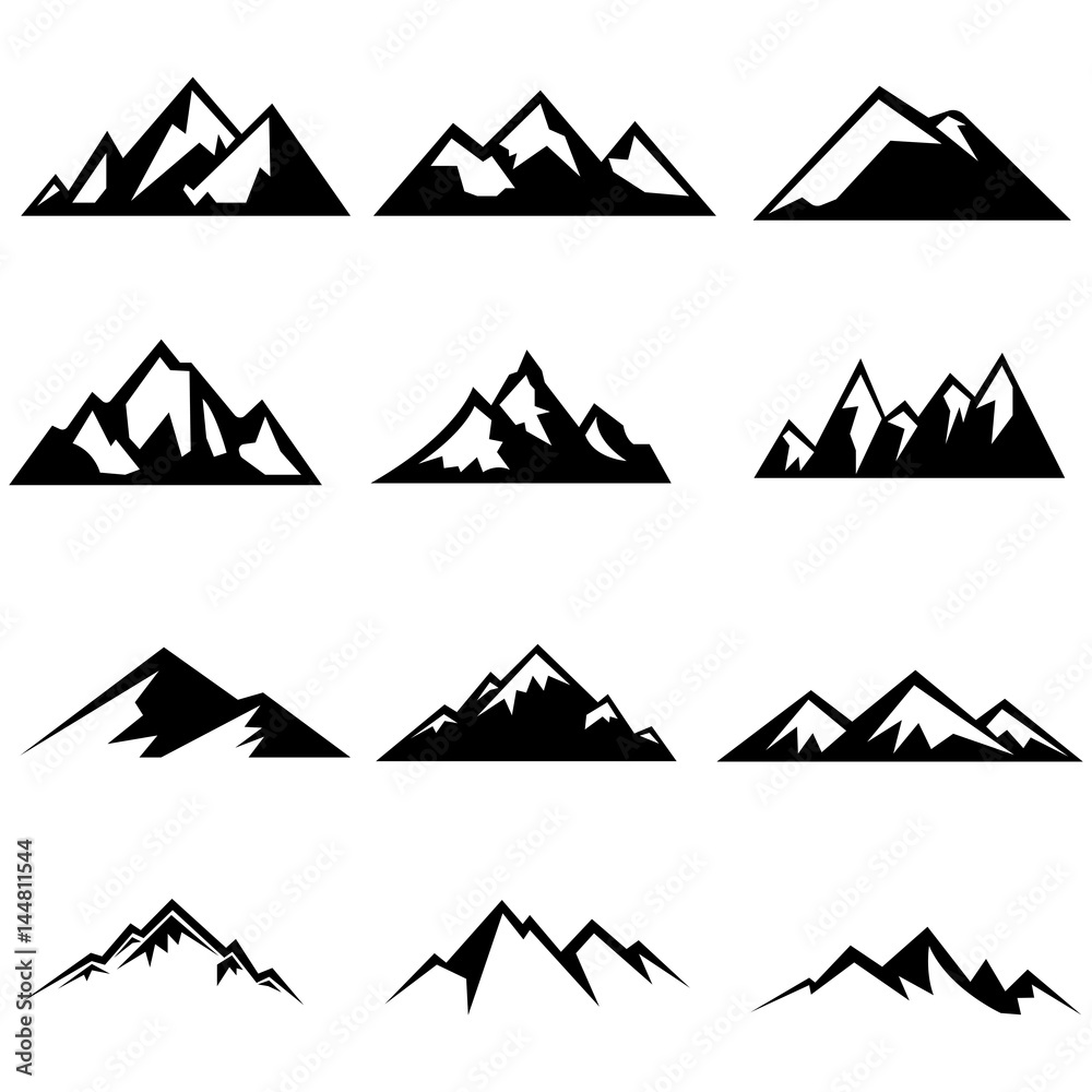 Fototapety, obrazy: Set of mountains silhouettes. Mockups for creating logo, badges and emblems. Vector illustration