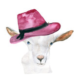 goat in a hat. animal, watercolor. - 144811596