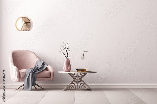 Valokuva  Interior with an armchair and a little table on a background of an empty wall, 3D render, 3d illustration