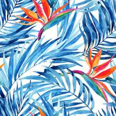 Fototapeta Egzotyczne Watercolor tropical leaves and flowers summer seamless pattern.