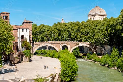 Fotografie, Obraz  Isola Tiberina, Roma