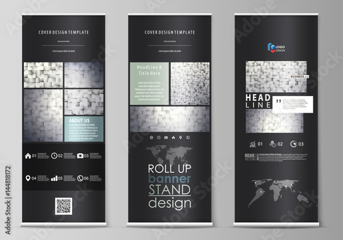 Photo Roll up banner stands, flat design templates, modern business concept, corporate vertical vector flyers, flag layouts